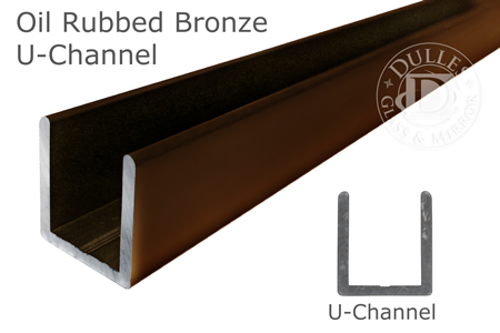95 Oil Rubbed Bronze Deep U-Channel for 3/8 Thick Glass