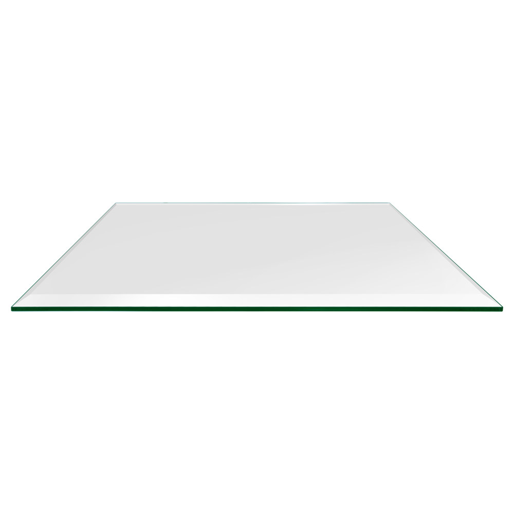 36x60 Inch Rectangle Glass Table Top, 1/4 Inch Thick, Bevel Polished, Eased Corners, Tempered