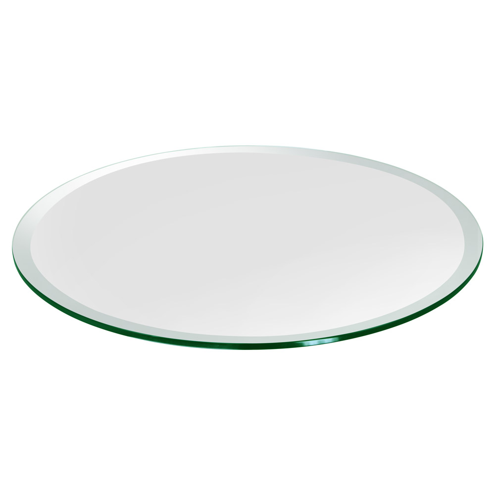 "16"" Round Glass Table Top, 1/2"" Thick, Beveled Edge, Tempered Glass"