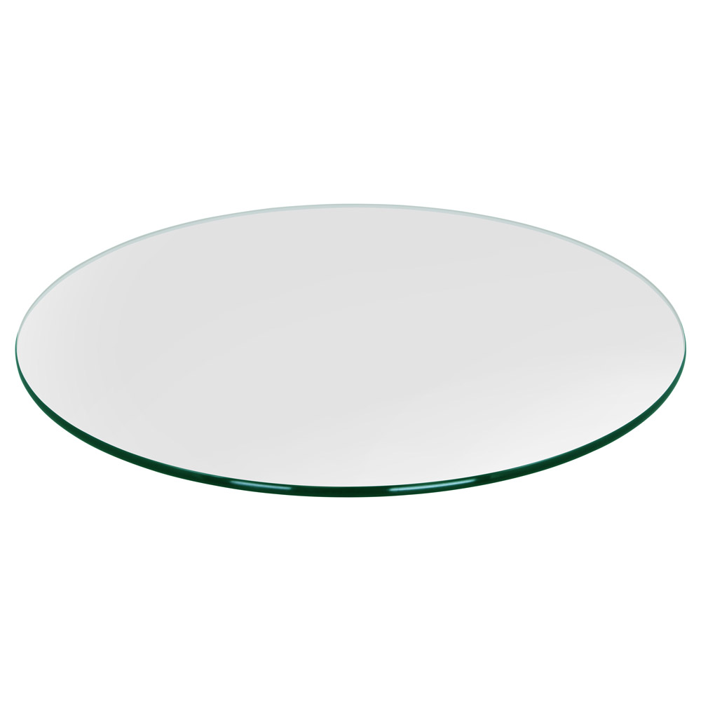 "26"" Round Glass Table Top, 3/8"" Thick, Pencil Polished, Tempered"