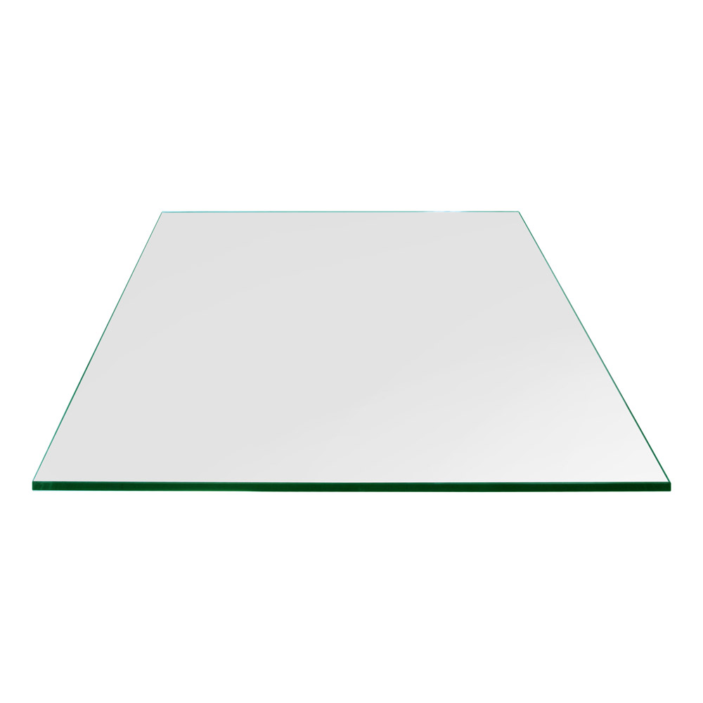 16 Inch Square Glass Table Top, 1/4 Inch Thick, Flat Polished, Eased Corners, Tempered
