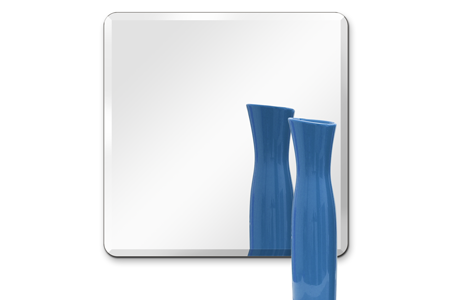 "18"" Square Mirror: 1/4"" Thick, Beveled Polished with Hook"