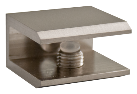Brushed Nickel Square Glass Shelf Bracket
