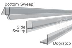 "98"" Long, Plastic Sweep Kit for 1/4"" Thick Glass Single Door"