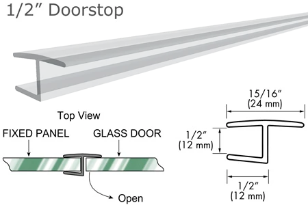 "95"" Clear ""H"" Jamb 180° Inline for 1/2"" Glass-to-Glass Door"
