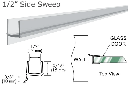"95"" Clear PVC Seal and Wipe for 1/2"" Glass"
