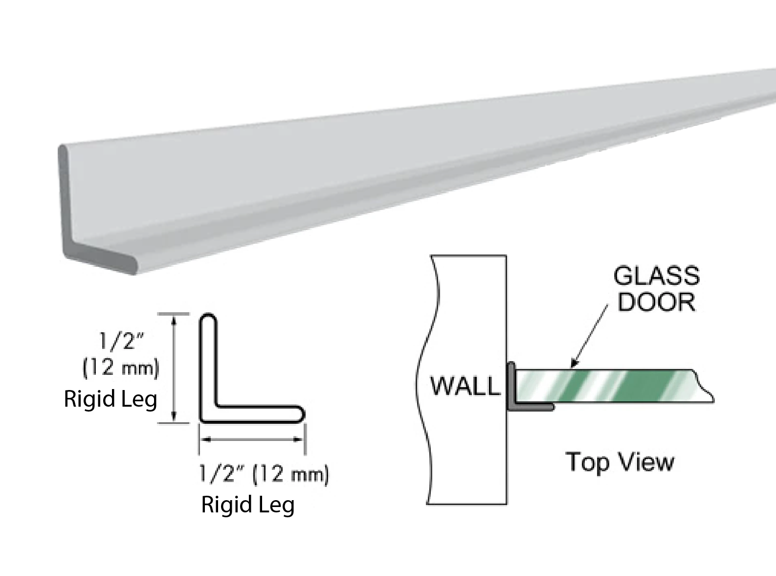 "95"" Clear Strike Angle Jamb with Clear Double Tape"