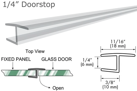 "95"" Clear ""H"" Jamb 180° Inline for 1/4"" Glass-to-Glass Door"