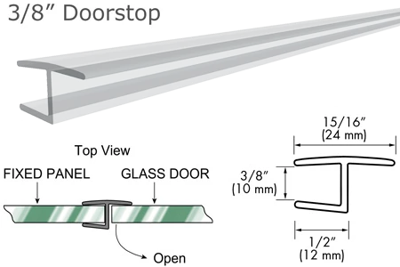 "95"" Clear ""H"" Jamb 180° Inline for 3/8"" Glass-to-Glass Door"