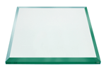 16 Inch Square Glass Table Top, 1/2 Inch Thick, Bevel Polished, Eased Corners