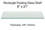 Rectangle Floating Glass Shelf 6 x 21