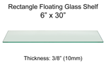 Rectangle Floating Glass Shelf 6 x 30