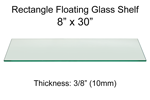 Rectangle Floating Glass Shelf 8 x 30