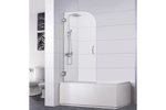 "Bathtub Screen 30"" x 64"", 3/8"" Thick, Chrome with Tubular Handle, Rena Series"