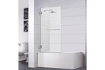 "Bathtub Screen 32"" x 64"", 3/8"" Thick, Chrome with Towel Bar, Siena Series"