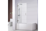 "Bathtub Screen 32"" x 62"", 3/8"" Thick, Chrome with Tubular Handle, Siena Series"