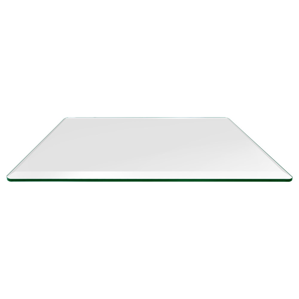 36x72 Inch Rectangle Glass Table Top, 3/8 Inch Thick Bevel Polished Radius Corners Tempered