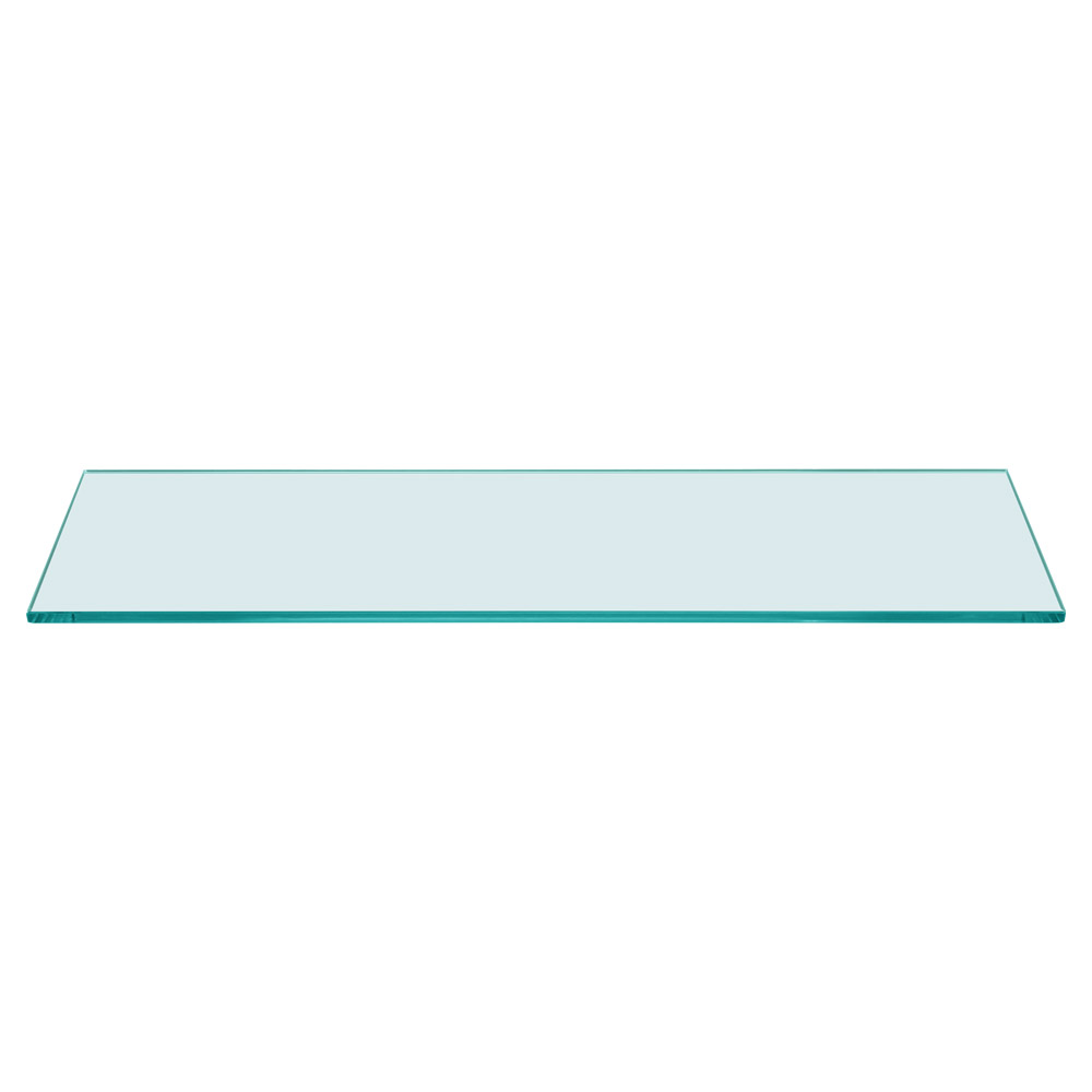 Rectangle Floating Glass Shelf 6 x 18 Inch, 1/4 Inch Thick