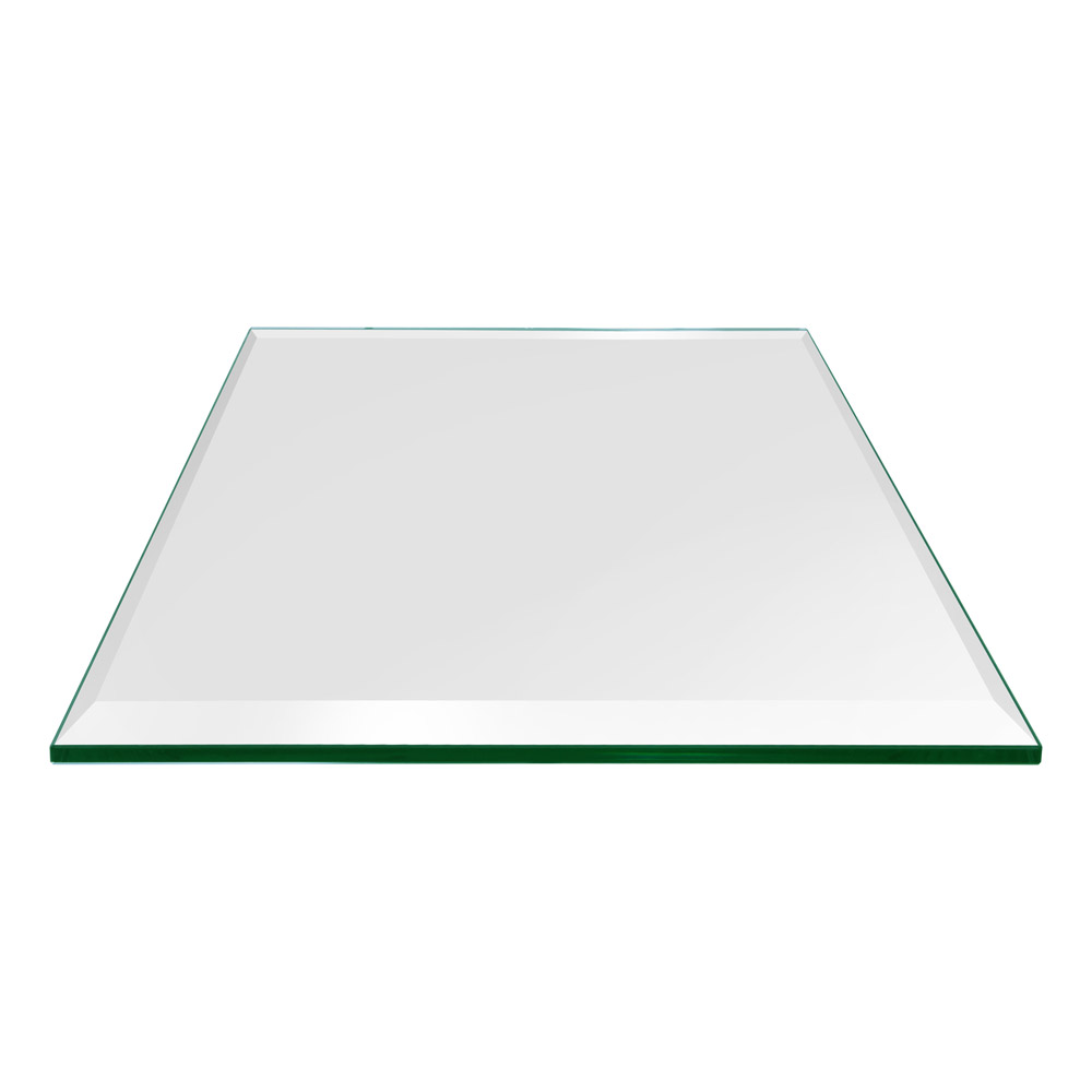 16 Inch Square Glass Table Top, 1/2 Inch Thick, Bevel Polished, Eased Corners, Tempered