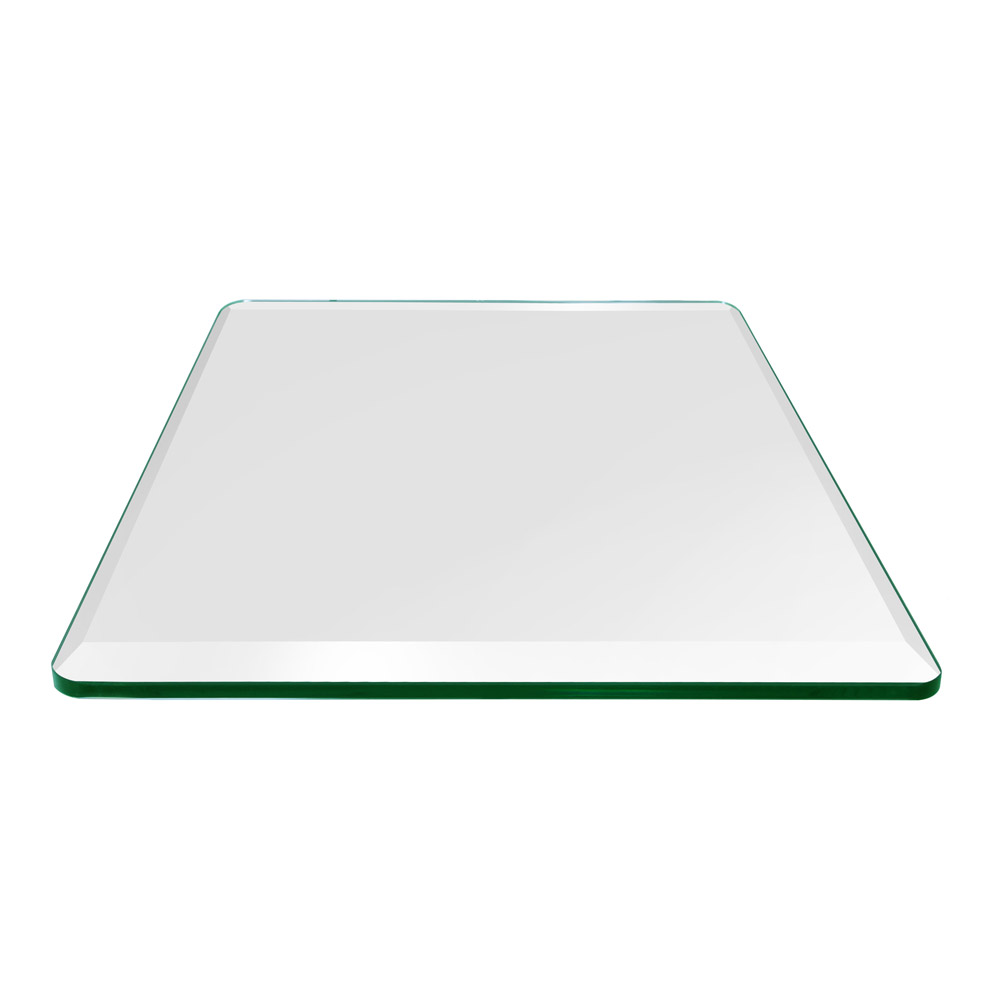 34 Inch Square Glass Table Top, 1/2 Inch Thick, Bevel Polished, Tempered Glass, Radius Corners