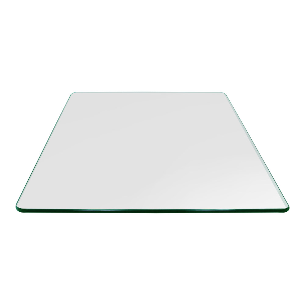 24 Inch Square Glass Table Top, 3/8 Inch Thick, Pencil Polished, Radius Corners, Tempered