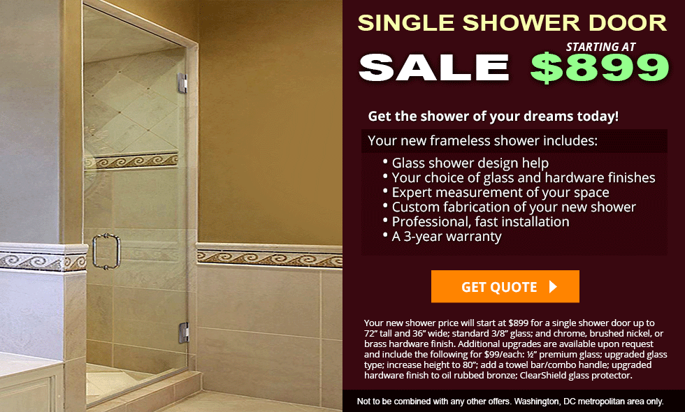 Single Frameless Shower Doors | Dulles Glass and Mirror